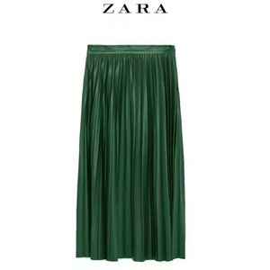 ZARA Emerald Green Faux Leather Pleated Skirt